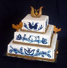 folk art cake Cake Art, Folk Art, Wedding Cakes, Desserts, Food, Honey Cookies, Pastries, Blue Nails, Art