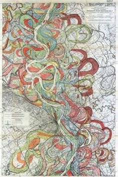 Map art.    The Mississippi River seems eternal, but it changes over time. How much? You can see in a collection of colorful maps at Visual News. Cartographer Harold N. Fisk produced them in 1944, with different colors to show the past and current flow of the mighty Mississippi. Link -via the Presurfer