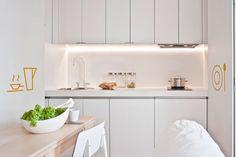 Kawalerka w Poznaniu - proj. Double Vanity, Small Spaces, Kitchen Cabinets, Interior Design, Furniture, Home Decor, Studio, Blog, Projects