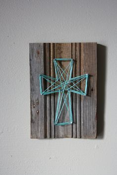 Reclaimed Wood Trim with String Art Cross Wall Decor