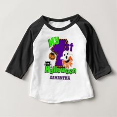 Shop First Halloween Ghost Baby T-Shirt created by StargazerDesigns. Personalize it with photos & text or purchase as is! Baby First Halloween, Halloween Ghosts, Cute Halloween, Halloween Cards, Halloween Themes, Baby Costumes, Consumer Products, Personalized Baby, Tees