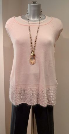 DTLM powder pink knit top – £179, Gardeur trousers – £99, Moon necklace £39. Available at Sister