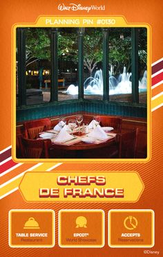 Walt Disney World Planning Pins: Delight in French nouvelle cuisine at this family-friendly brasserie as you drink in views of World Showcase promenade.