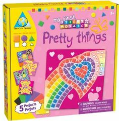 My First Sticky Mosaics® Pretty Things by The Orb Factory. $9.83. Includes over 1000 colorful sticky foam pieces, 3 shapes in 7 colors, 5 fun designs and 5 wall hangers. The award winning line of Sticky Mosaic craft kits will delight all ages and all skill levels. Bigger Sticky Mosaic foam tiles are easier for little ones to handle. Great for play dates and birthday parties. Decorate-by-number concept helps reenforce number and color recognition skills. From the Manufacturer   ...