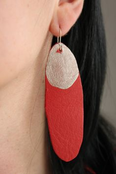funky & available in coral or navy // Leather earrings coral red blue yellow long earrings by Myartspace, $18.00