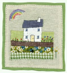 new home / country cottage Freehand Machine Embroidery, Free Motion Embroidery, Embroidery Applique, Sewing Art, Sewing Crafts, Sewing Projects, Fabric Cards, Fabric Postcards, Sewing Appliques