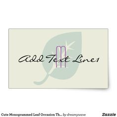 Cute Monogrammed Leaf Occasion Thank You Sticker
