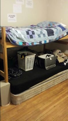 Homemade bunk beds on pinterest bunk bed canopies bunk for How to raise your bed frame