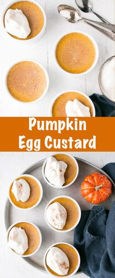 Creamy smooth and luscious Pumpkin Egg Custard recipe. Perfectly spiced and lined up ready for Fall. This easy dessert is almost effortless and made from convenient items. Make Ahead Desserts, Köstliche Desserts, Delicious Desserts, Dessert Recipes, Dinner Recipes, Vegan Recipes Easy, Fall Recipes, Holiday Recipes, Thanksgiving Recipes
