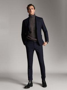 Men´s Must Have at Massimo Dutti online. Blazer Outfits Men, Blazer Jeans, Mens Fashion Blazer, Stylish Mens Fashion, Stylish Mens Outfits, Suit Fashion, Moda Formal, Man Dressing Style, Business Casual Men