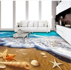 From rolling golden plains to a koi fish pond, bring your floors to life with cheap floor murals and floor art from AJ Wallpaper. Floor Murals, Floor Art, Floor Rugs, Floor Wallpaper, Wallpaper Murals, 3d Flooring, Waterproof Flooring, Shell Beach, Wallpaper Online