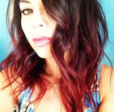 I love my new bright red hair but. when the roots come back, I think I might do a dark brown to bright red ombre Hair Color And Cut, Ombre Hair Color, Hair Colors, Wedding Hairstyles For Long Hair, Pretty Hairstyles, Hair Wedding, Wedding Dress, Brown To Red Ombre, Dark Brown