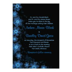 Elegant blue and black snowflake winter wedding invitation #winterwedding #winterweddinginvitations #weddinginvitations #weddings