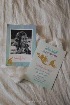 Mermaid Birthday Party Invitation Template - #mermaid #poolparty #summerbirthday #summerparty #littlemermaid #mermaidbash #girlbirthday #kidspartytheme #birthayparty #birthday #partytheme #summer #gold #purple #teal #firstbirthday #secondbirthday #thirdbirthday #fourthbirthday #fifthbirthday #sixthbirthday #seventhbirthday #template #digitaldownload #editable #diy Girls Birthday Party Themes, Fourth Birthday, Summer Birthday, Pool Party Invitations, Mermaid Invitations, Birthday Invitations, Little Mermaid Birthday, Summer Pool Party, Mermaid Parties