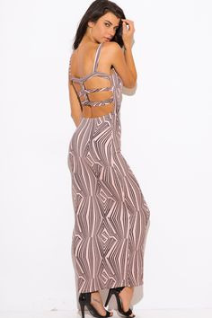 FOR THE NIGHT | dusty pink abstract print caged cut out backless fitted evening party maxi dress - 1015store.com