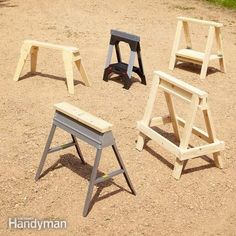 Sawhorses are an essential construction tool, and this article highlights 5 of the DIY designs, with complete plans, and two off-the-shelf favorites. Do It Yourself Furniture, Diy Furniture, Furniture Projects, Sawhorse Plans, Diy Sawhorse, Metal Stud Framing, Saw Horse Diy, Carpentry Skills, Trim Carpentry