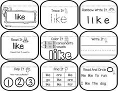 Sight word mini book sample for the words can, like, and the. Students practice several skills such as writing the words, identifying vowels and consonants, reading the word to a friend and identifying how many syllables. Teaching Sight Words, Sight Word Practice, Sight Word Games, Sight Word Activities, Sight Word Book, Popcorn Words, Kindergarten Reading, Early Finishers Kindergarten, Kindergarten Phonics