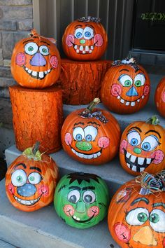 painted pumpkins goofy faces