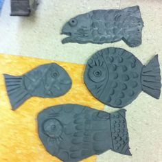 1st grade Paul Klee inspired fish-clay project. For my Pre-Kers..use model magic and fish cookie cutters..let it dry and have them paint them the next day!
