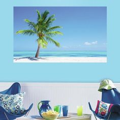 RoomMates Palm Tree Peel & Stick Mural Wall Decal ($38) ❤ liked on Polyvore featuring home, home decor, wall art, blue, tropical palm trees, paradise palms, horizontal wall art, peel and stick wall decals and tropical palms