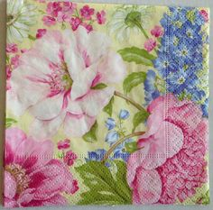 Paper Napkins Decoupage Beverage set 5 Pink Floral Summer Shower Caspari Craft #Caspari