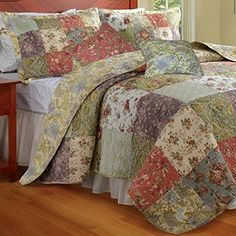 Country Cottage Fl Patchwork Pattern Microfiber Quilt Coverlet And Shams Set Oversized To Fit Extra Deep Mattress Bedding Is Reve