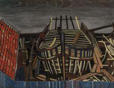 Léon Spilliaert, Fishing boat in a shipyard - Chantier naval, Made of gouache and chalk