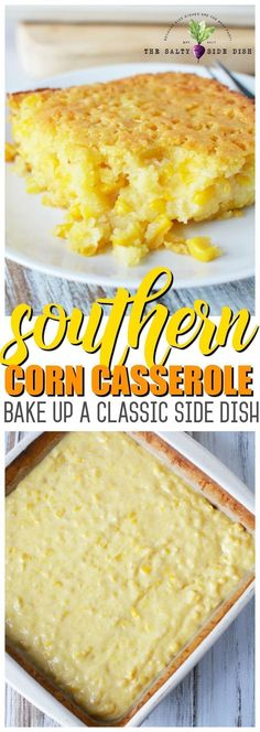 Summer Southern Food Sweet corn casserole combines creamed corn into a southern homemade side dish from scratch. Typically served on a Thanksgiving table, this baked recipe is so good that your dish will be empty before the dinner is done! Corn Recipes, Fall Recipes, Holiday Recipes, Baking Recipes, Vegan Recipes, Sweet Corn Casserole, Casserole Recipes, Veggie Casserole, Bean Casserole