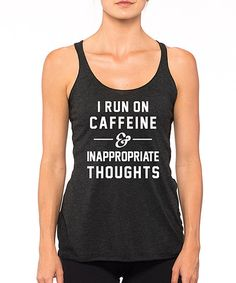 efd907eb27b96d SignatureTshirts Black  I Run On Caffeine  Racerback Tank - Plus