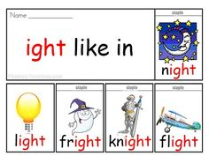 ight words phonics flip book - it's FREE & PRINTABLE. Perfect for poster for auditory discrimination, sound studies, vocabulary and classroom reference.