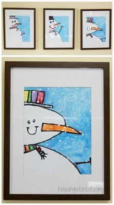 winter art projects for kids ~ Snowman Painting