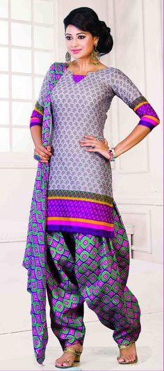 Riti Riwaz Gray Printed Patiyala Dress
