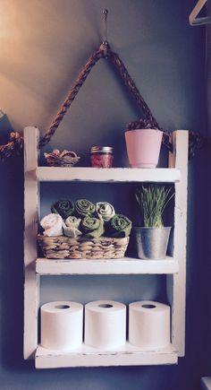 Rope Hanging Shelf, Wooden Ladder Shelf, Storage Shelf, Bathroom Storage, Over The Toilet Storage, Towel Rack
