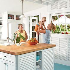 12 Beach House Kitchens | Live Large | CoastalLiving.com  Good idea for short space above refrigerator