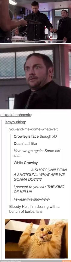 Crowleys face is always the bast same with his reactions! Crowley and cas will always be my favorite and they fight for first place sometimes