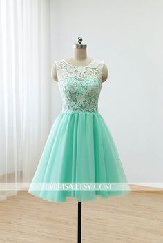 Custom Lace Tulle Bridesmaid dress Prom Dress Mint by Everisa