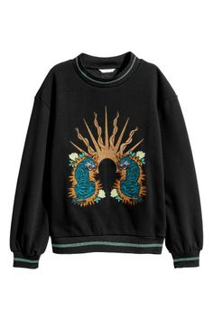 Embroidered sweatshirt - Black/Tigers - Ladies | H&M GB 1