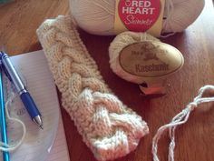 Hand Knit Head Band with two different yarns by Leona Kealty