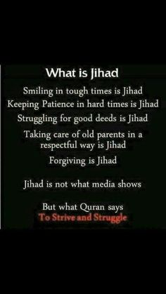 Islam says the best Jihad is the struggle within yourself to be a better person. Check the Quran and see. Islamic Quotes, Islamic Teachings, Islamic Inspirational Quotes, Muslim Quotes, Religious Quotes, Islamic Dua, Islam Hadith, Allah Islam, Islam Muslim