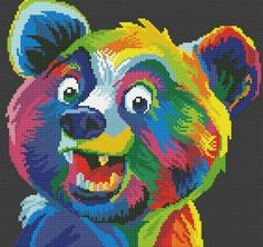 Hama Beads Design, Hama Beads Patterns, Beading Patterns, Pixel Crochet, Rainbow Crochet, Pretty Animals, Colorful Animals, Pixel Art Templates, Bear Art