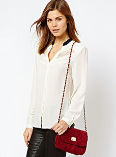 White Long Sleeve Contrast Lace Hollow Blouse - Sheinside.com
