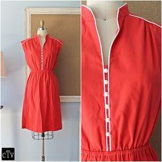 Retro Vtg 70's Strawberry Red Petite Button by closiTherapivinTage #vintage #cotton