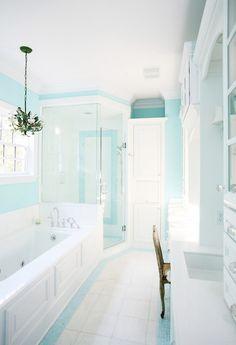Tiffany Blue Paint - Contemporary - bathroom - Sherwin Williams Spa - Echelon Custom Homes
