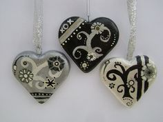 Monochrome Valentine Hearts  Hand Painted by VioletHouseCrafts, $14.00