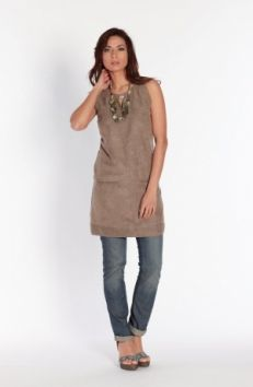 Flattering taupe tunic dress works equally well over trousers as on its own. Miss Captain by Captain Tortue Spring Summer 2014