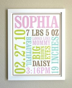 "Inspiration off of Etsy:  1. Baby's first name   2. Birth date: month, day and year  3. Birth weight  4. Time of birth  5. Length of baby at birth  6. 4 or 5 other memorable things about baby's birth (eg. funny hair, eye color, cute phrases etc.)  Print poster on high-quality paper with genuine Epson archival inks.   Size 11"" x 14"".  Put in frame and hang in nursery."
