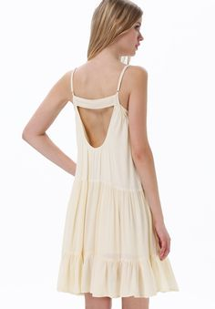 White Spaghetti Strap Hollow Pleated Dress - Sheinside.com