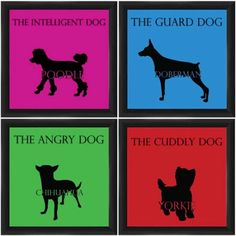 Dog Traits Framed Art, Set of 4, Multicolor
