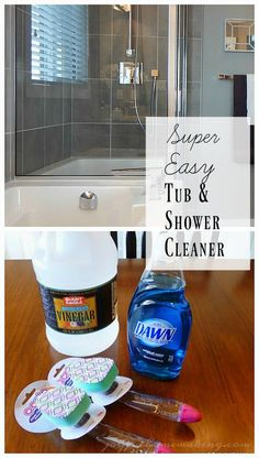 Shower and Tub Cleaner Easy Tub and Shower Cleaner - put it in a dish wand and keep it in your shower for quick scrubs!Easy Tub and Shower Cleaner - put it in a dish wand and keep it in your shower for quick scrubs! Diy Bathroom Cleaner, Bathtub Cleaner, Bathroom Cleaning Hacks, Shower Cleaning, Clean Shower, Dawn Shower Cleaner, Vinegar Shower Cleaner, Cleaning Recipes, House Cleaning Tips