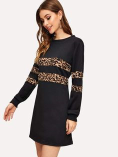 To find out about the Cheetah Print Panel Sweatshirt Dress at SHEIN, part of our latest Sweatshirts ready to shop online today! Casual Dresses, Casual Outfits, Summer Dresses, Sweatshirt Dress, Grey Sweatshirt, Latest Dress, Cheetah Print, Types Of Sleeves, Dress Patterns